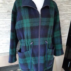 Vintage wool plaid reversible coat jacket